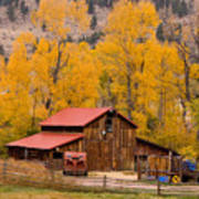 Rocky Mountain Barn Autumn View Art Print