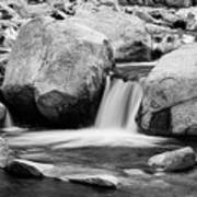 Rocky Mountain Canyon Waterfall In Black And White Art Print