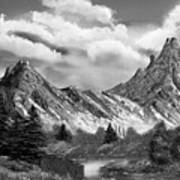 Rocky Mountain Tranquil Escape In Black And White Art Print