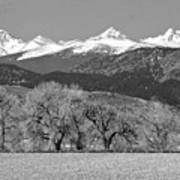 Rocky Mountain View Bw Art Print