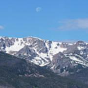 Rocky Mountain Waning Gibbous Moon Set Art Print