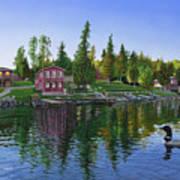 Rocky Shore Lodge Art Print