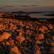Rocky Shoreline And Islands At Sunset Art Print