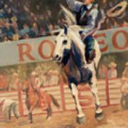 Rodeo   Bareback Bronc Painting Art Print