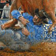 Rodeo Houston --steer Wrestling Art Print