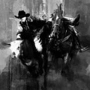 Rodeo In Black Art Print