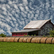 Rolled Up - Hay Rolls And Barn Art Print