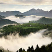 Rolling Fog At Sunrise With Mountains Of Kamnik Savinja Alps At  Art Print