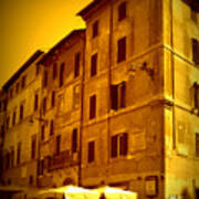 Roman Cafe With Golden Sepia 2 Art Print