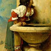 Roman Girl At A Fountain Art Print