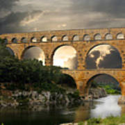 Roman Pont Du Gard Art Print by Melvin Kearney