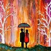 Romance In The Rain Art Print