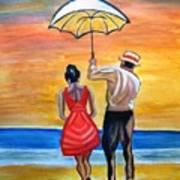 Romance On The Beach Art Print