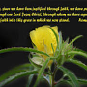 Romans 5 Verses 1 2 Yellow Wildflower Art Print