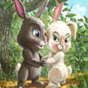 Romantic Cute Rabbits Art Print