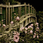 Romantic Garden And Bridge Art Print