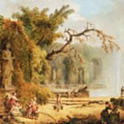 Romantic Garden Scene Art Print by Hubert Robert