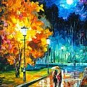 Romantic Night 2 - Palette Knife Oil Painting On Canvas By Leonid Afremov Art Print