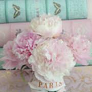 Paris Peonies Floral Books Art - Pink And Aqua Peonies Books Decor - Shabby Chic Peonies  Art Print