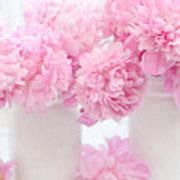 Shabby Chic Pastel Pink Peonies - Pink Peonies In White Mason Jars Art Print