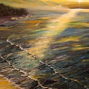 Romantic Sunset At Oceanside Art Print