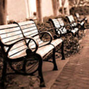 Romantic Surreal Park Bench Pink Sepia Tones Art Print