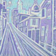 Romantic Town In Blue Art Print