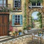 Romantic Tuscan Courtyard II Art Print