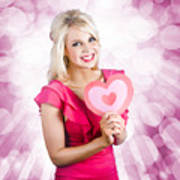 Romantic Woman With Heart Shape Valentine Card Art Print
