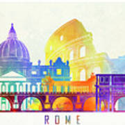Rome Landmarks Watercolor Poster Art Print