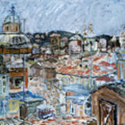 Roofs of Rome Art Print