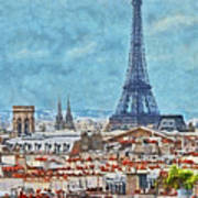 Rooftops In Paris And The Eiffel Tower Art Print