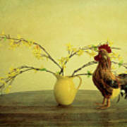 Rooster At Sunrise Art Print