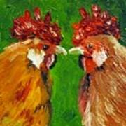 Rooster Face Off Art Print