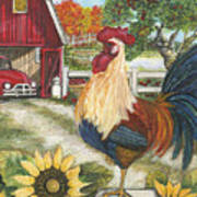 Rooster On The Apple Farm Art Print