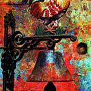 Rooster On The Door Whimsy Art Print