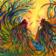 Roosters Frienship Art Print