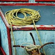 Ropes And Rusty Anchors On A Boat Deck Art Print