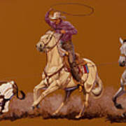 Ropin Pardners Art Print