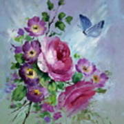 Rose And Butterfly Art Print