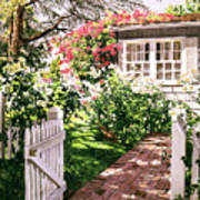 Rose Cottage Gate Print by David Lloyd Glover