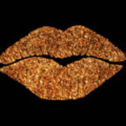 Rose Gold Texture Kiss, Lipstick On Pouty Lips, Fashion Art Art Print
