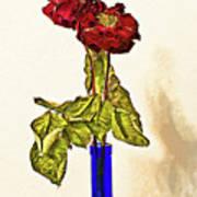 Rose In Blue Vase Art Print