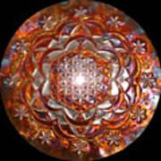 Rose Of Life Copper Lightmandala Art Print
