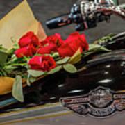 Harley Davidson And Roses Art Print
