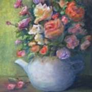 Rose Petal Tea Pot Art Print