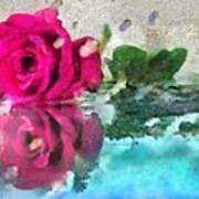 Rose Reflected Fragmented In Thick Paint Art Print