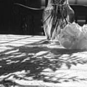 Rose Vase In Shadows Black And White Art Print