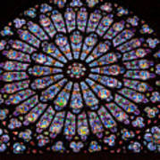 Rose Window At Notre Dame Cathedral Paris Art Print