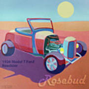Rosebud Model T Roadster Art Print by Evie Cook